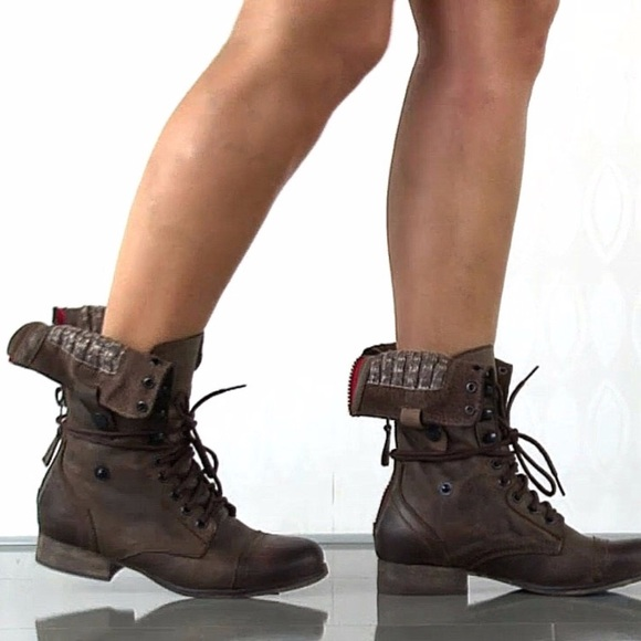 Fold Over Brown Combat Boots